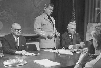 John Zaremba, Richard Basehart and Eddie Albert confront leaders with plans for Operation Counterforce.