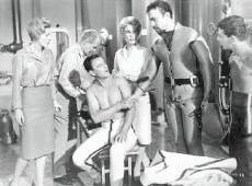 Joan Fontain, John Litel, Robert Sterling, Barbara Eden, Michael Ansara and Frankie Avalon in missile room.