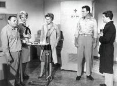 Peter Lorre, Barbara Eden, Joan Fontain, Robert Sterling and Frankie Avalon in sickbay.