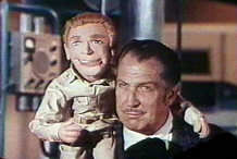 Vincent Price and Nelson puppet--The Deadly Dolls