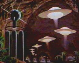 Nifty matte painting of flying-saucers.