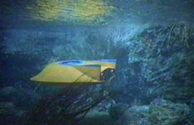 Outrageously good underwater effects shots of the Flying Sub for The Silent Saboteurs.