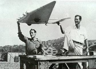 Howard and Theodore with the Dick Tracy Flying Wing model