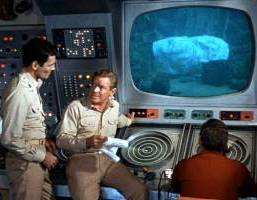 Big-screen view of dangerous underwater discovery.