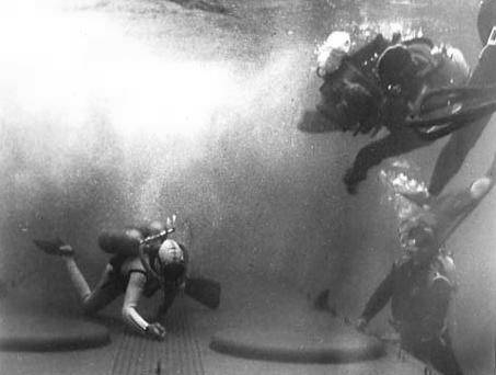 Rare out-take shows underwater photographers, probably one of whom is John Lamb in the tank at 20th.