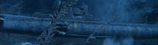 Great aged detail of wrecked World War I sub, the U444