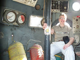 Stephanine sitting in the NIMR diving bell, and looking pretty happy about it.